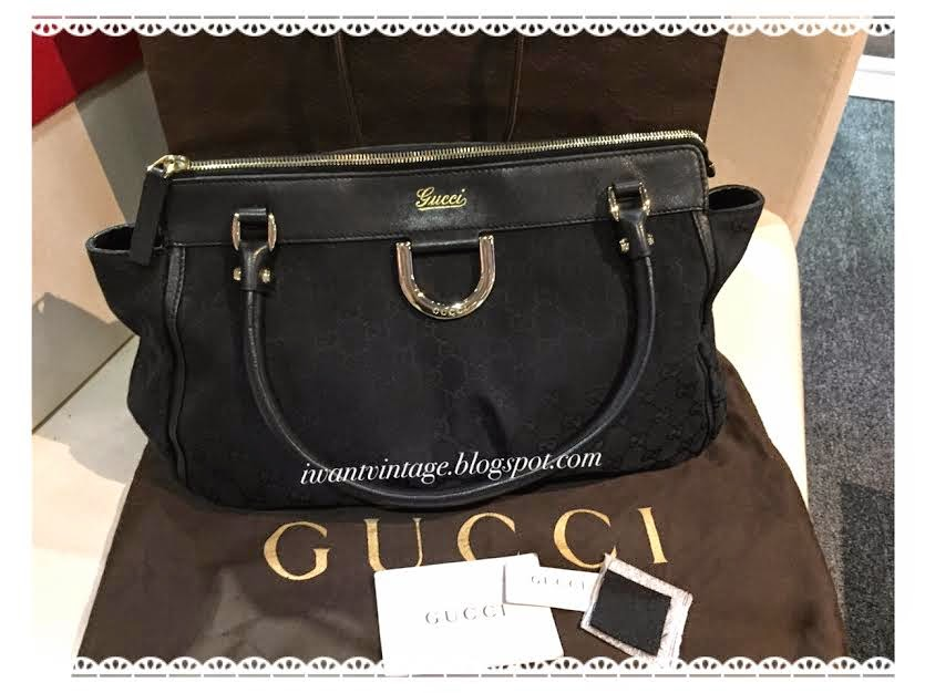 a95342a7597 Gucci Denim Zip Top D Ring Abbey Bag-Black