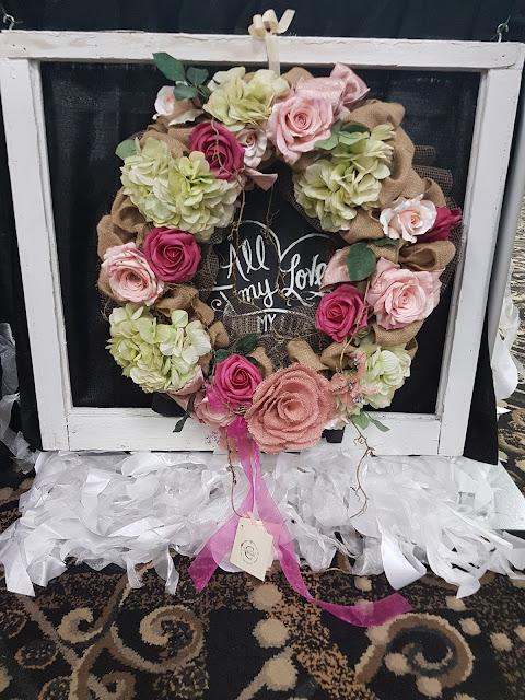 Burlap wreath The Camellia