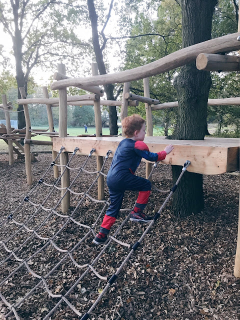 Little boy playing climbing a net onto a play park