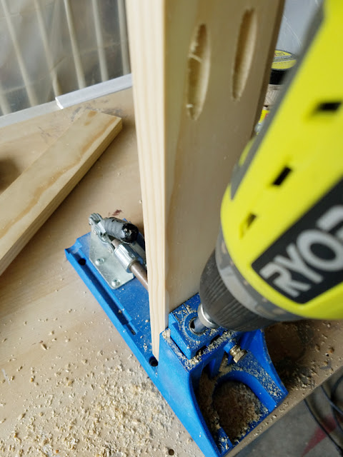 Shaker style cabinet doors made with Kreg jig and Ryobi drill.