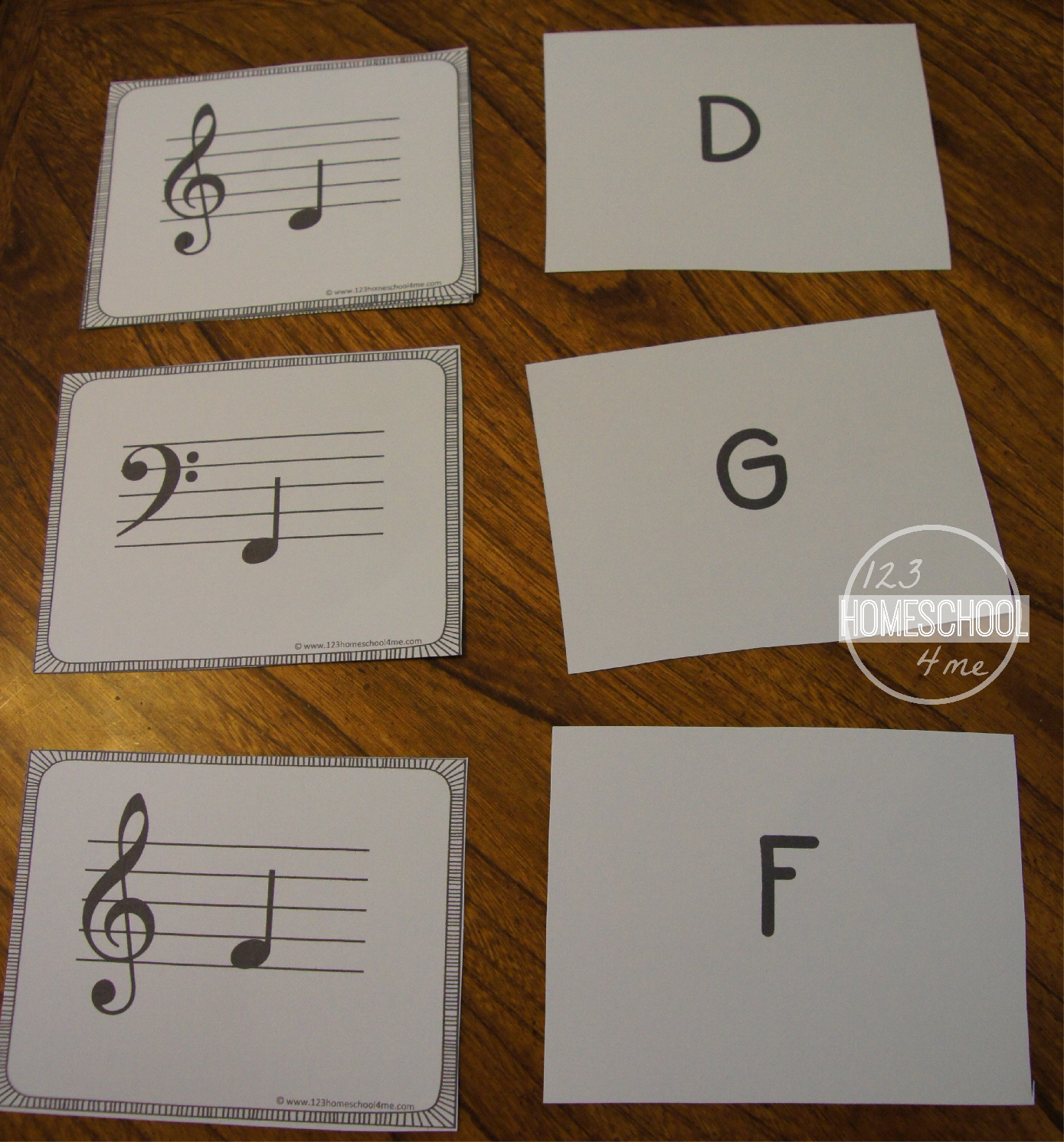 Musical Notes Flash Cards Printable Free