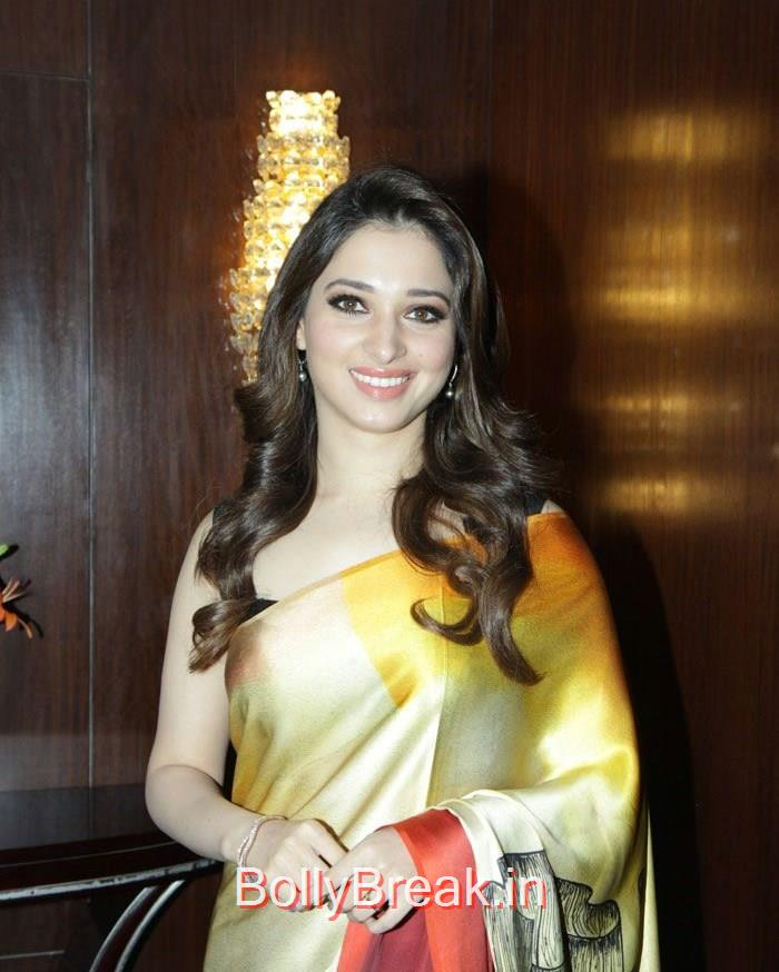 Tamannaah Bhatia, Tamannaah Bhatia in Hot Colorful Saree at Lakme Fashion Week 2015