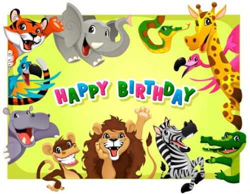 Template Kartu Ucapan Ulang Tahun Anak Karakter Binatang Lucu