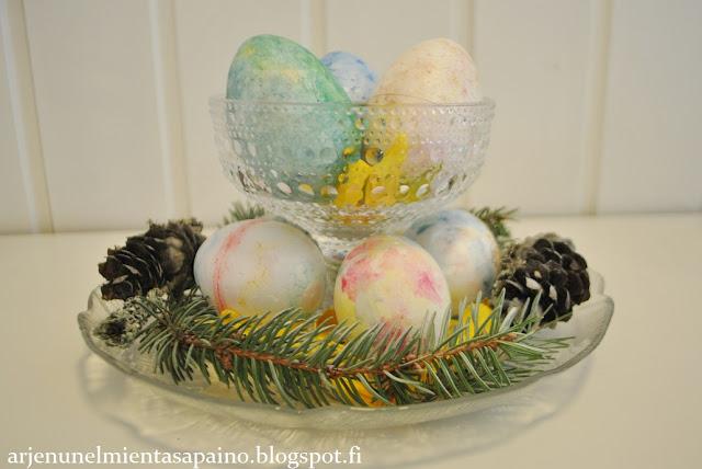 koti, sisustus, pääsiäinen, asetelma, pääsiäismunat