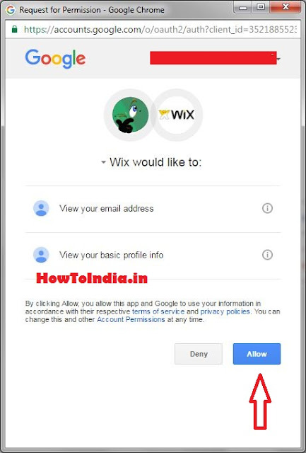 Allow google for permission on wix
