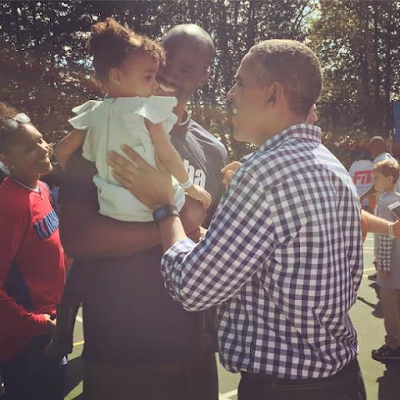 NBA player Emeka Okafor & daughter with Barack Obama at the White House Easter Egg Roll, Beyonce, Blue Ivy among guests (See Photos)