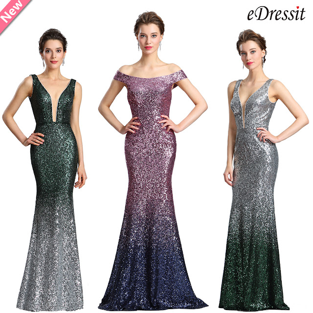 Elegant Deep V-Cut Green-silver Sequins Party Dress