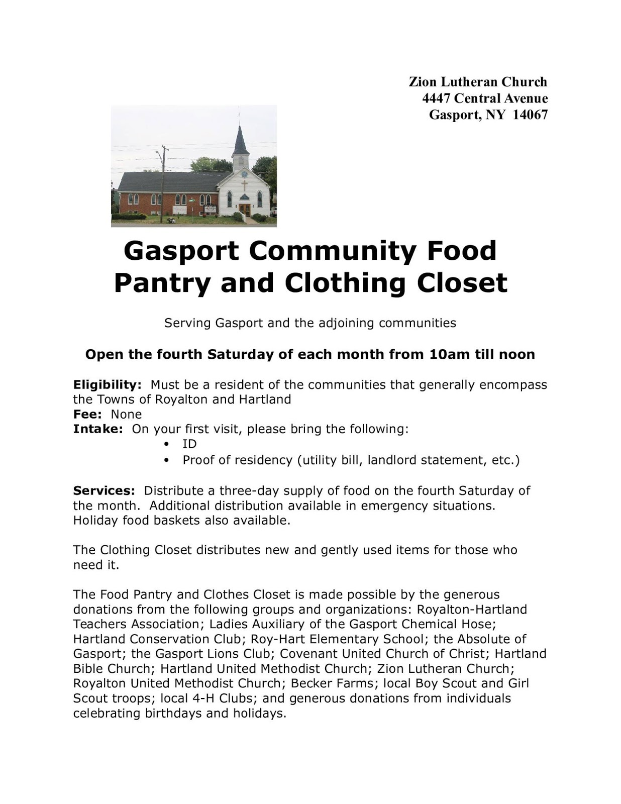 life and times in gasport new york food pantry this saturday