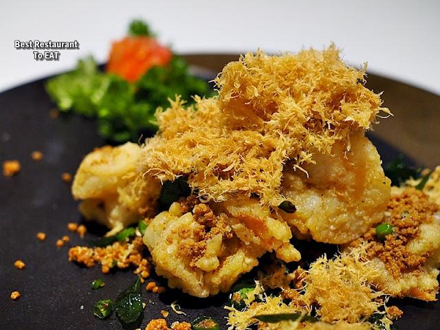 Chinese New Year Set Menu - Wan Chun Ting - Menu - Wok-Fried Fresh Tiger Prawns With Curry Leaf Topped With Shredded Egg