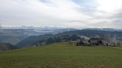 Emmental mit Alpen im Hintergrund