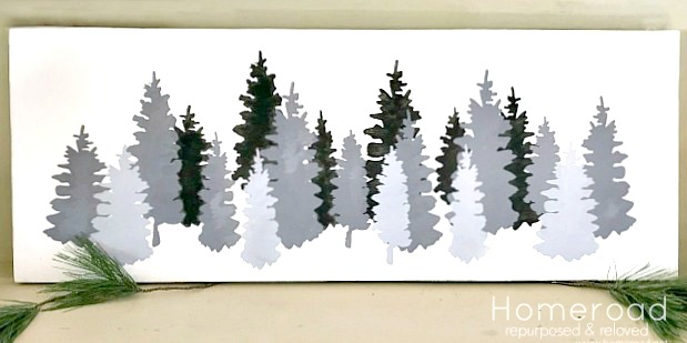 Stenciled shades of grey Christmas tree painting. Homeroad.net