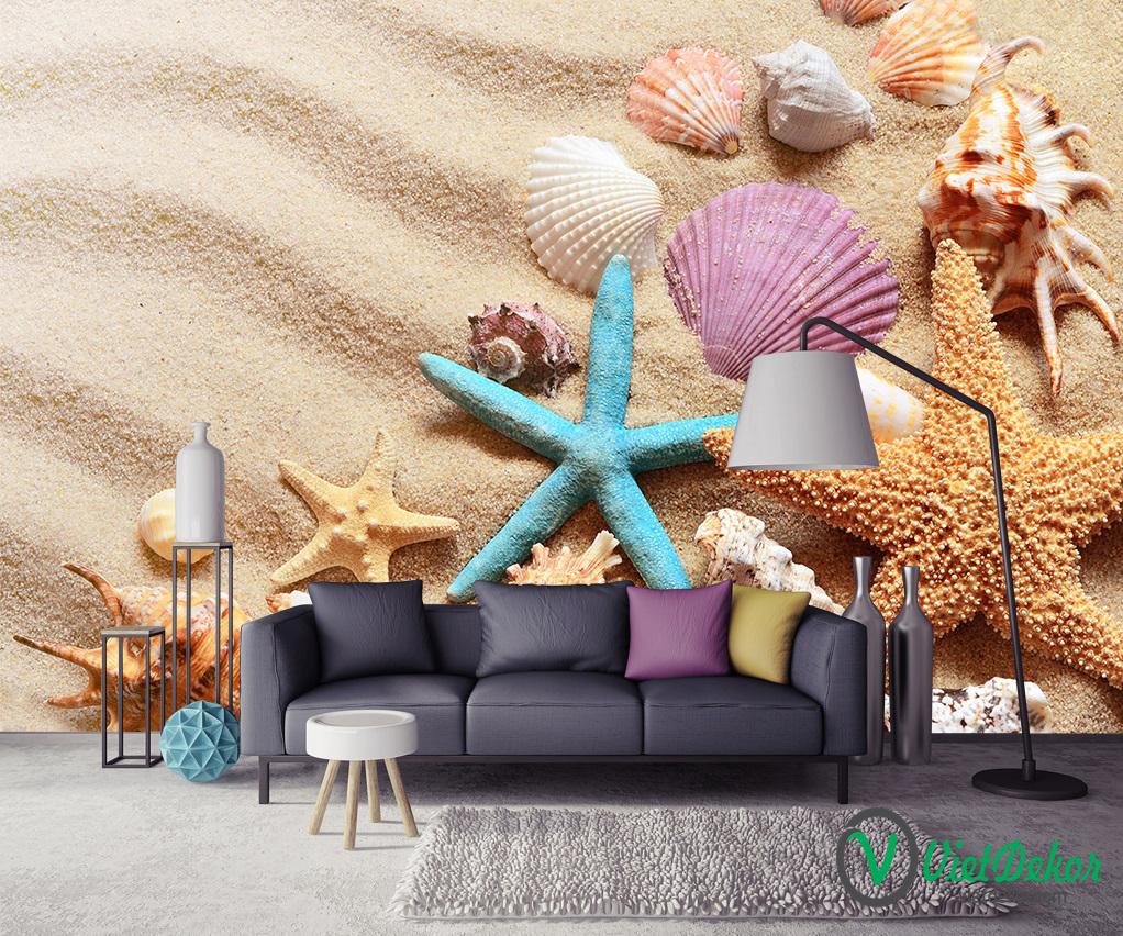 Tranh dán tường 3d phong cảnh  bãi biển san hô