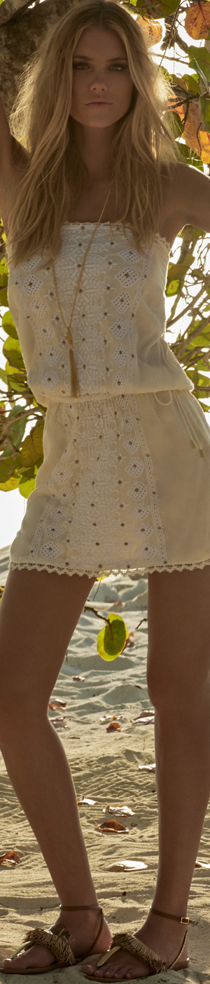 MELISSA ODABASH DRU BANDEAU SHORT DRESS CREAM/WHITE