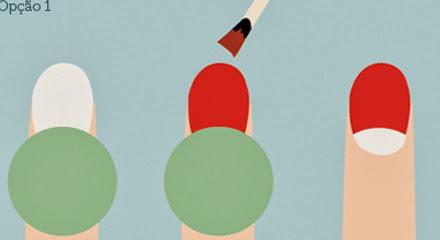 Nail art: Unhas meia lua para o Natal