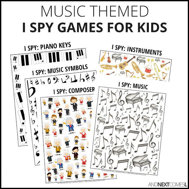 Music themed printable I spy games for kids