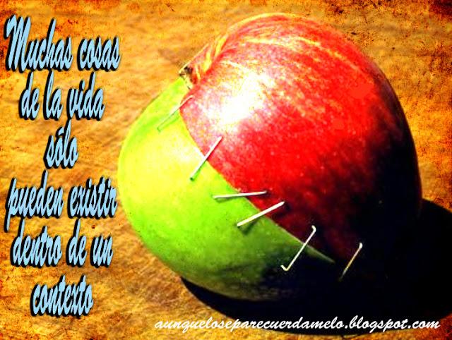 mitades de manzanas opuestas
