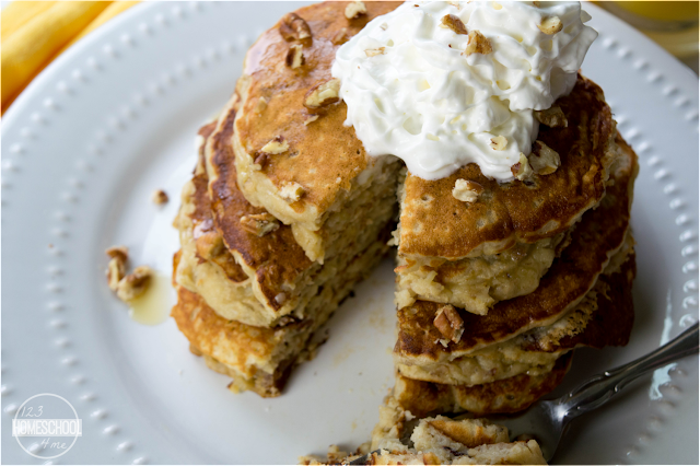 serve banana panakes with warm maple syrup or top with whipped cream and additional pecans.