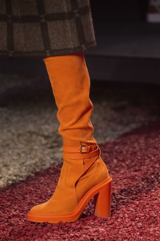 Hermes with Orange Color Under The Knee Boots