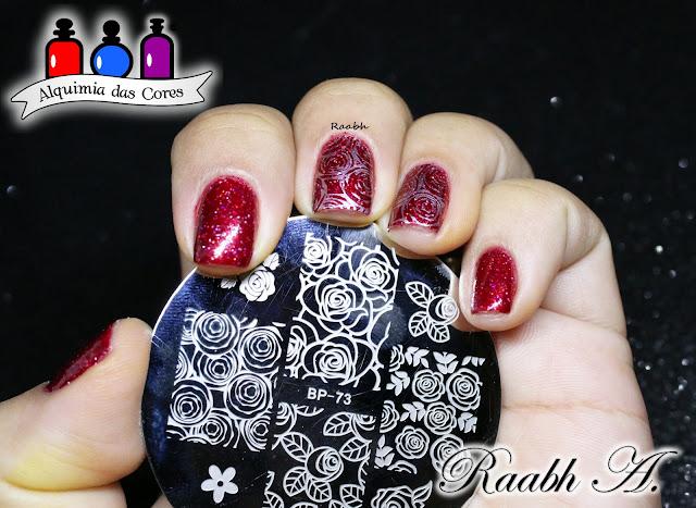 Raabh A. 2019, Avon Vinho Fashion, Hits Phoenix, Glitter Forte, Glitter, unhas carimbadas, Vermelho, Red, Rosas, BP-73