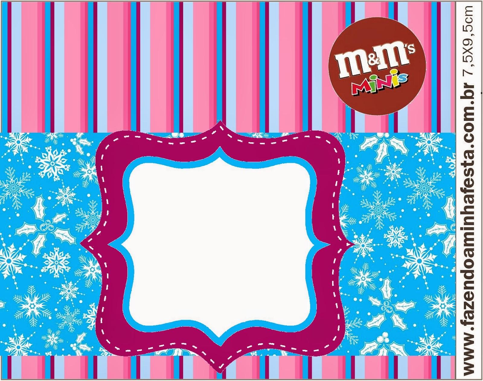 Etiqueta M&M  de Frozen en Morado y Celeste para Navidad para imprimir gratis.