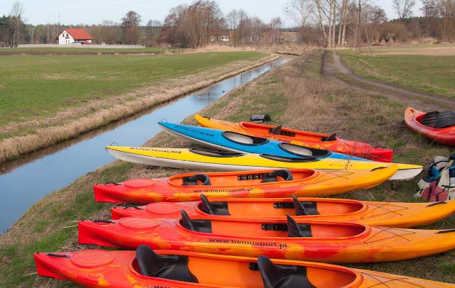 kajaki, spływ kajakowy, rzeka Samica, kanały, Osieczna, Kościan, wiosna