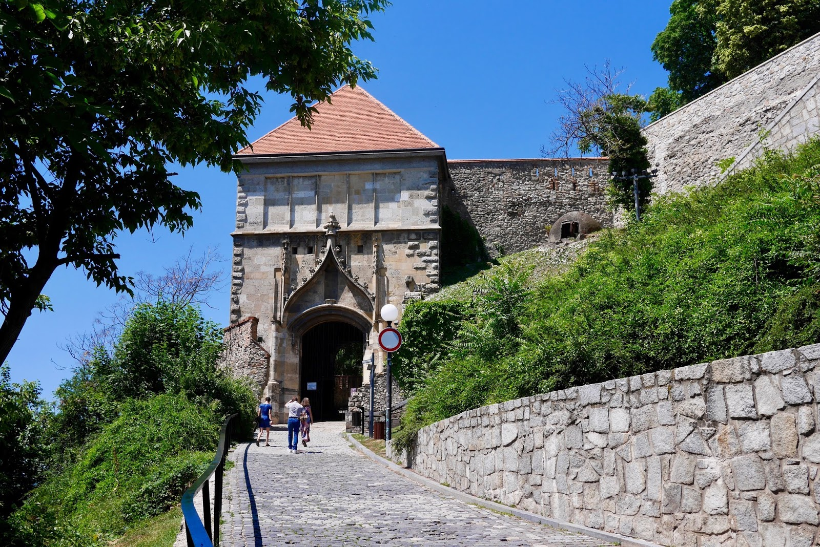 Bratislava castle entrance, steep hill but incredible views in Bratislava from www.calmctravels.com or CalMcTravels.com