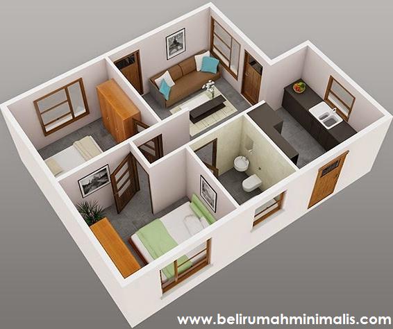 Rancangan Denah Rumah Minimalis 2 Kamar Beserta Contohnya Type 36