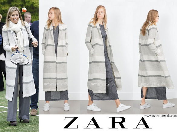 Queen Maxima wore Zara Stripe Duster Long Coat
