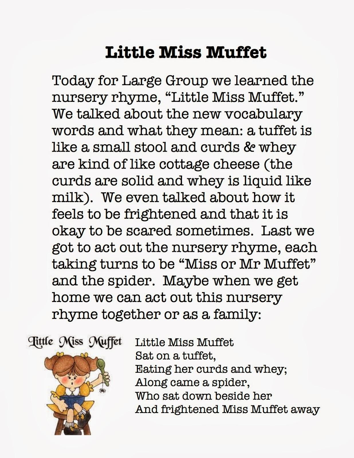 Miss Melissa S Speech Little Miss Muffet