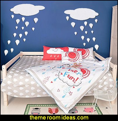Raindrop Pattern Children's Bedding Cloud Raindrops Wall Stickers