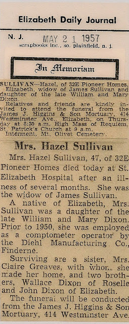 Death notice and obituary for Hazel (Dixon) Sullivan, 21 May 1957, Elizabeth (NJ) Daily Journal.