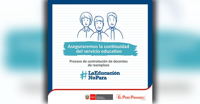 MINEDU: Sepa cómo será el proceso de contratación de docentes de reemplazo - www.minedu.gob.pe
