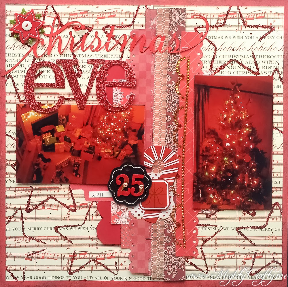 Cookie cutter glittered background -- Christmas Eve -- www.MightyCrafty.me