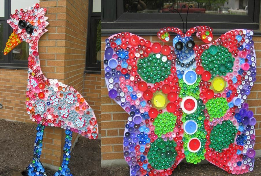 Craft for kids recycle bottle cap creative art and for Art from waste ideas for kids