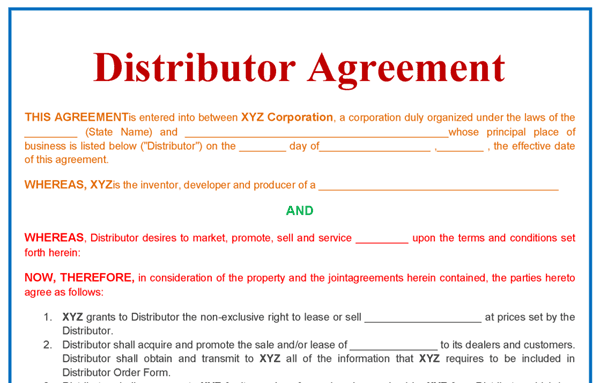 distributor agreement templates in word format