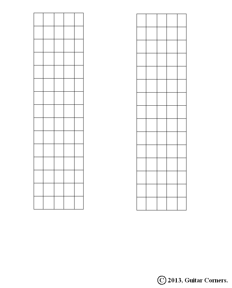 Guitar Corners: Fretboard Diagram Blanks (15 Fret Range)