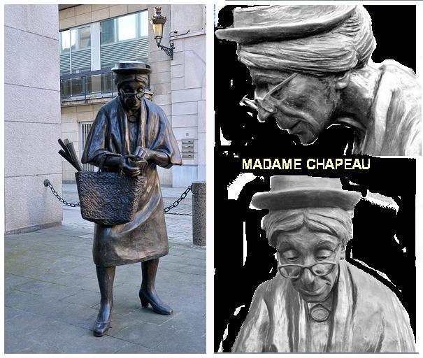 art,   Belgique, bronze, brussels, bruxelles, Madame Chapeau, Molenbeek-Saint-Jean, rue, sculpture, street, Tom Frantzen,   Брюссель