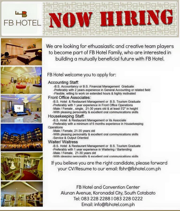 job hiring at FB Hotel