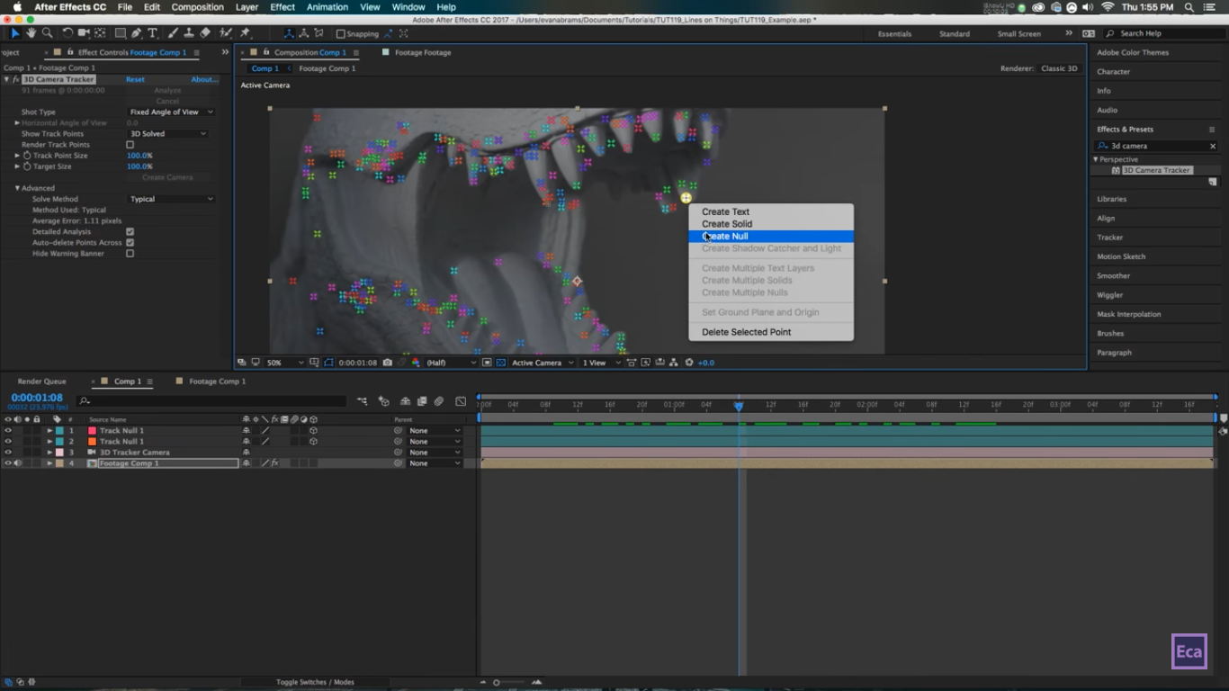 Drawing Lines and Points on a 3D Footage in After Effect