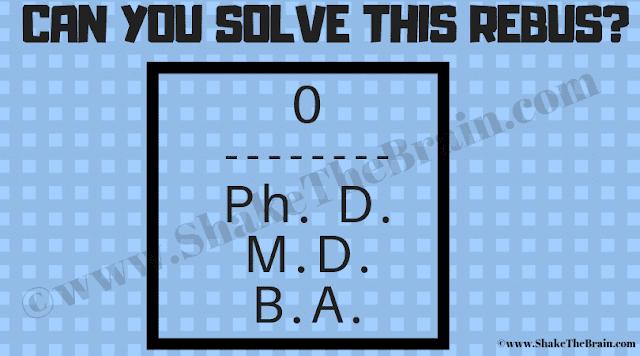 Rebus: 0 / Ph. D., M.D., B.A.