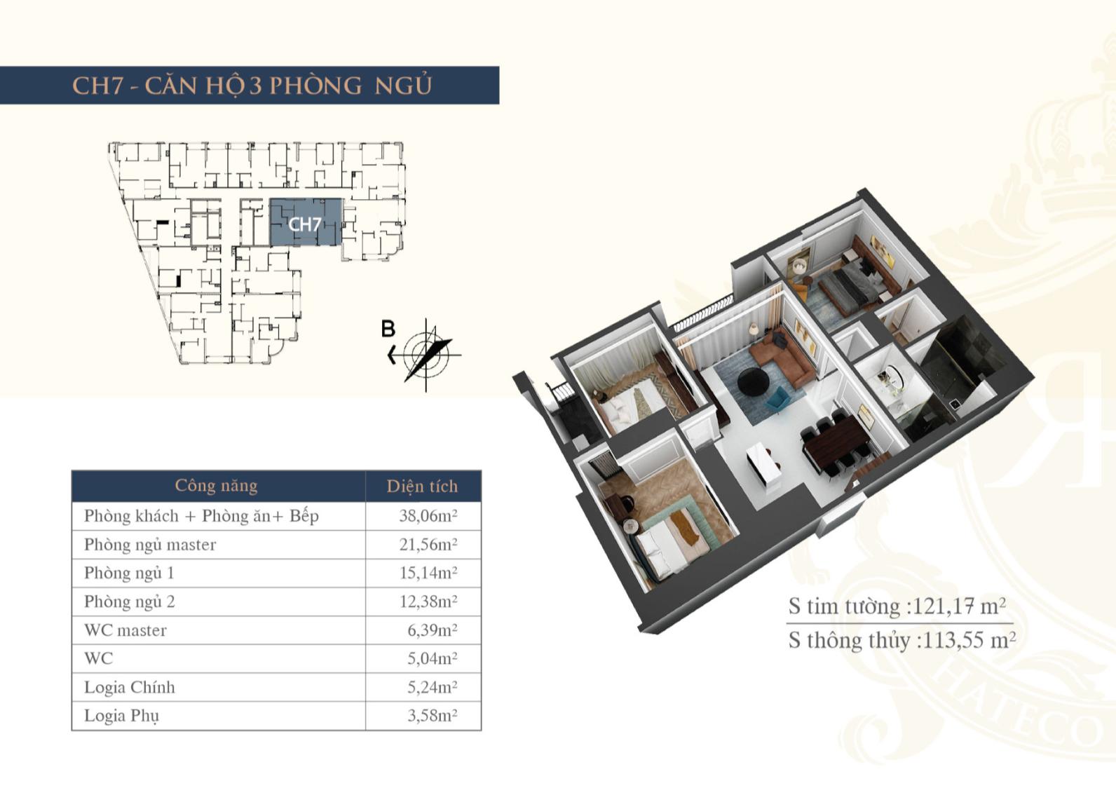 Chi tiết căn hộ chung cư Hateco La Roma - CH7