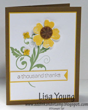 Stampin' Up! Flowering Flourishes  stamp set with yellow flower. Handmade card by Lisa Young, Add Ink and Stamp