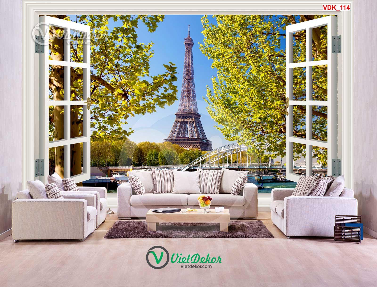 Tranh dán tường 3d cửa sổ cho phòng  khách đẹp