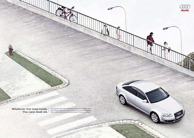 Audi arabasının kullanıldığı bir göz yanılması resmi
