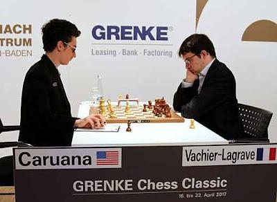 Ronde 5 du Grenke Chess Classic : Fabiano Caruana et Maxime Vachier-Lagrave ont disputé une partie d'échecs de très haut-niveau - Photo © Georgios Souleidis