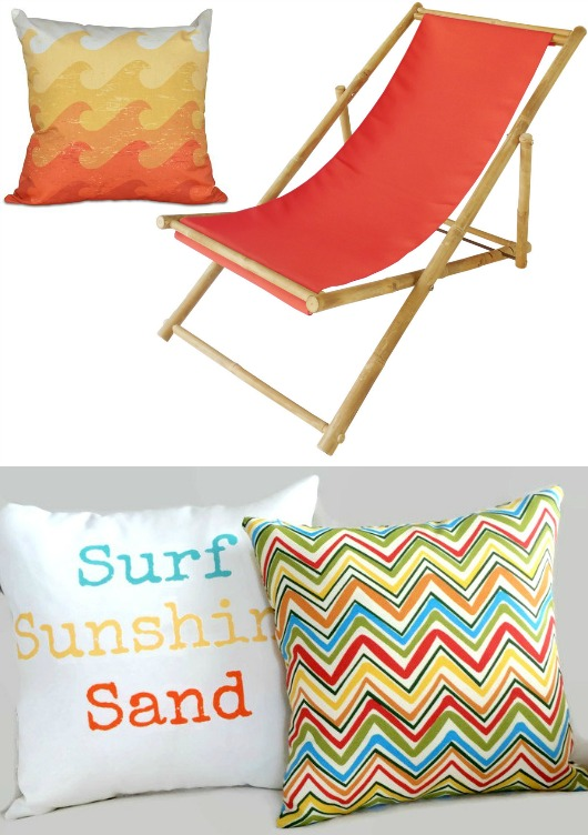 Yellow and Orange Outdoor Pillows and Beach Sling Chair