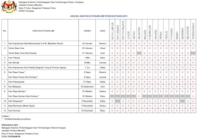 Malaysia Public / National / Federal Holidays 2013 Calendar (Kalendar Jadual Hari Kelepasan Am Persekutuan Malaysia)