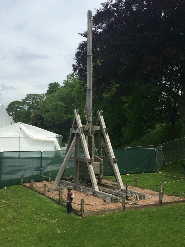Our-weekly-journal-29th-may-2017-toddler-next-to-trebuchet-at-cardiff-castle