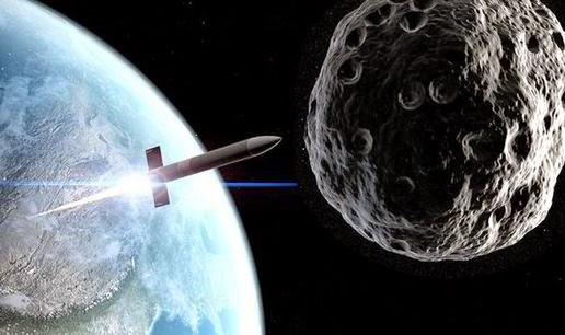Illustration mankind's ultimate weapon / nuclear fired into the asteroid that threatening Earth