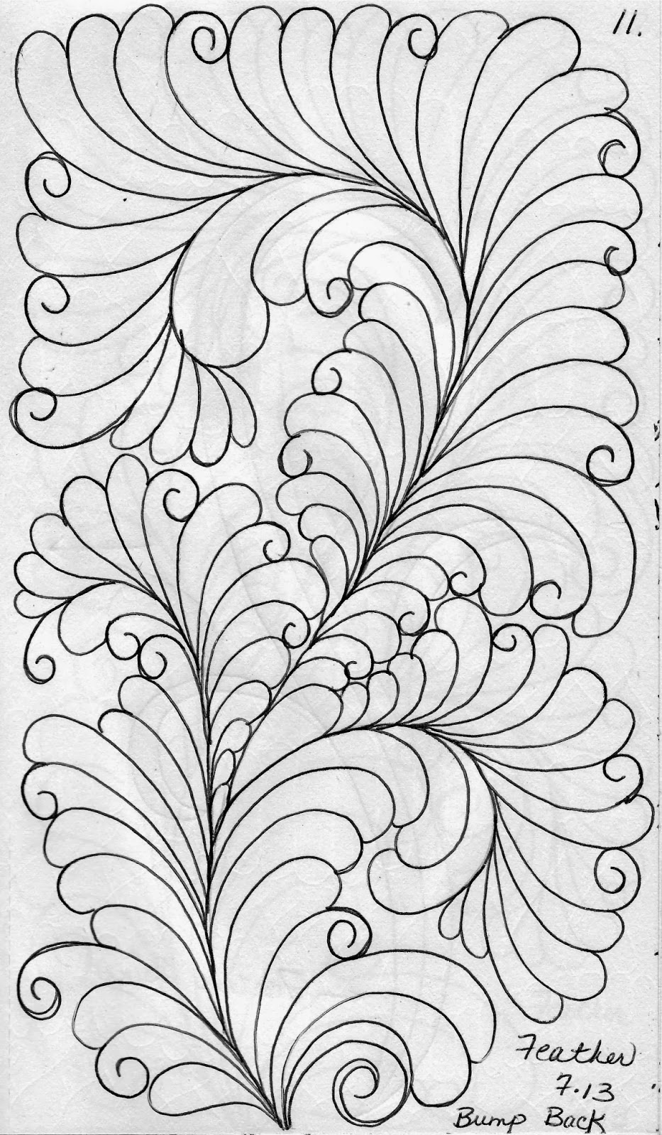 LuAnn Kessi: Quilting Sketch Book.....Bump Back Feathers : feather quilting - Adamdwight.com